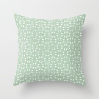 Sage Green White Petals  Throw Pillow by KCavender Designs