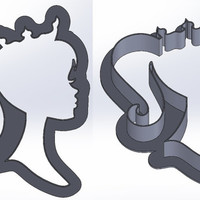 Barbie with crown silhoutte cookie cutter