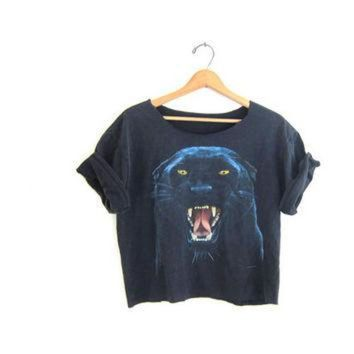 ONETOW Vintage Cropped black Puma TShirt. Grunge Cut Off Shirt. faded out cut off Tee Shirt.