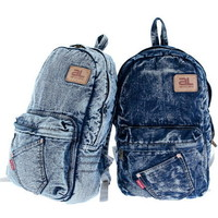 Blue washed denim campus compact backpacks for girl from Vintage rugged canvas bags