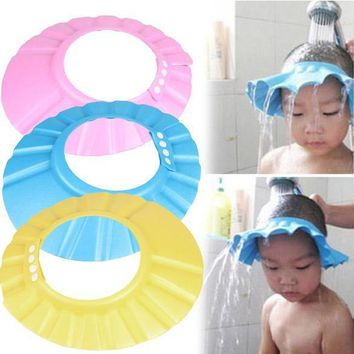 Shampoo Bath Shower Cap Adjustable Soft Hair Wash Props Baby Wash Hair Shield EVA foam Child 34-45cm Head Circumference Hat