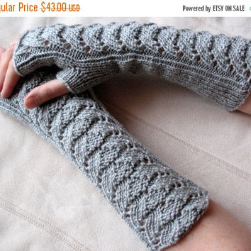 "regular price Long Fingerless Gloves Gray 12"" Arm Warmers  Mittens Soft Acrylic"