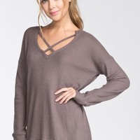 Criss Cross Comfort Top  - Mocha