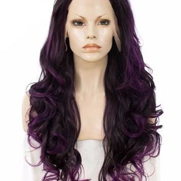 Long Two Tone Purple Ombre Cosplay Super Wavy Synthetic Lace Front Wig