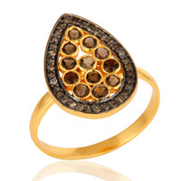 Handmade Pave Diamond Smoky Quartz 925 Sterling Silver Ring With Gold Vermeil