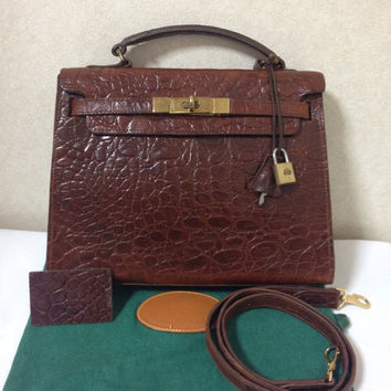 Vintage Mulberry croc embossed leather Kelly bag with shoulder strap. Roger Saul era. Rare masterpiece you must get.