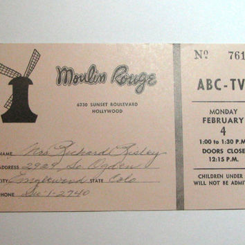 c 1960 Queen For The Day Vintage Ticket Jack Bailey ABC TV