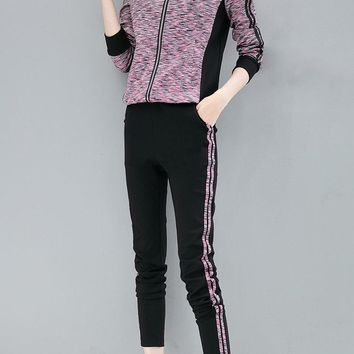 Casual Zipper Pocket Sport Two-piece Outfits For Women