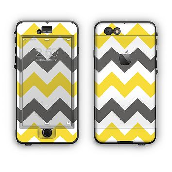 The Gray & Yellow Chevron Pattern Apple iPhone 6 Plus LifeProof Nuud Case Skin Set