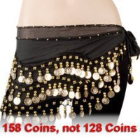 Black Chiffon Dangling Gold Coins Belly Dance Hip Scarf from Belly Dancing Skirts - Best Buy Shop
