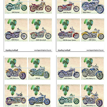 Harley Softail Motorcycles Altered Art - Coasters Artwork, 4.0 inch Squares, Arts and Craft Projects