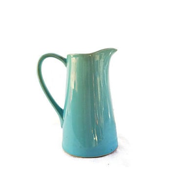 Vintage Blue Pottery Pitcher,  Turquoise Blue Glazed USA Kitchen Pitcher,  Light Blue Tall Pitcher with Ice Catcher