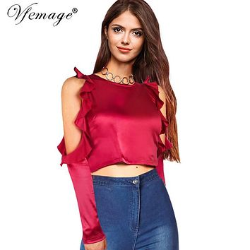 Vfemage Sexy Off Shoulder Ruched Ruffles Women Lady Fashion Split Long Sleeve Crop Top Casual Party Club Beach Shirt Blouse 4811