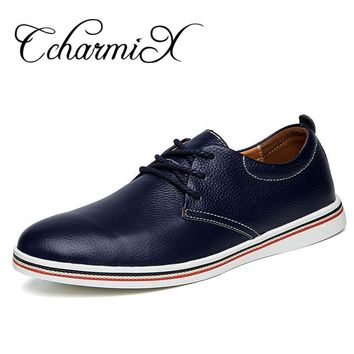 Genuine Leather Men Formal Shoe Black Blue Lace Up Wedding Dress Men's Oxfords Busines