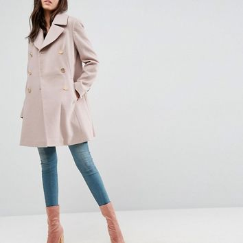 ASOS Swing Coat with Military Style Buttons at asos.com