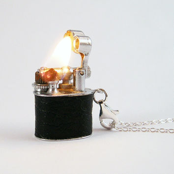 Vintage Working Lighter Necklace - Removable for lighting your cigarette