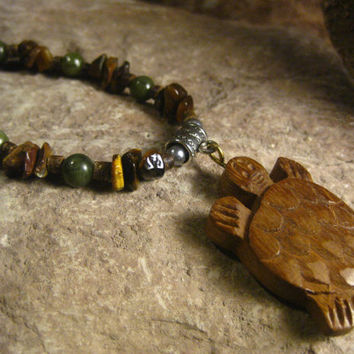 Turtle Pendant Necklace, Indian Rosewood Turtle Pendant Necklace with Tigers Eye, African Jade, Wooden Beads,Gift Ideas