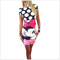 2018 Fashion women New summer mini cartoon dress female Casual Sexy miki plus size dresses party short vestidos clothes clothing