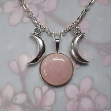 Rose Quartz Triple Goddess Moon necklace