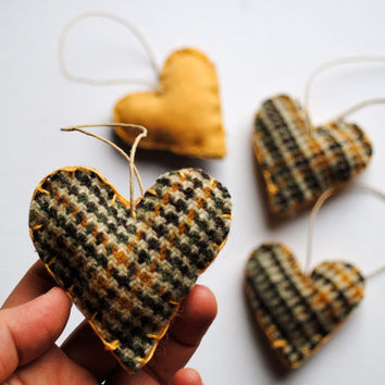 Brown Plaid Heart Felts - Pocket Wool Love Ornaments SET of 4 - Eco Friendly Upcycled Home Decor