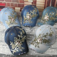 LGFD772B WOMEN DIY  customize  FLOWER Rhinestone Bling Denim  Baseball capSnapback caps hat