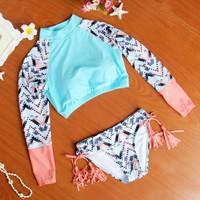 2016 New Arrival Women's Long Sleeve Pin Up Biquini Women Swimwear Sexy Crop Top Bikini Set Tie Dye Modern Outfits Swimsuit