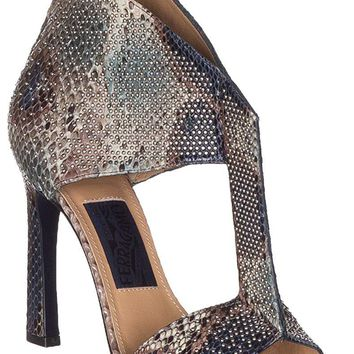 Salvatore Ferragamo Women's Pekaya Snakeskin Leather Embellished T-Strap Sandals Shoes