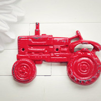 Red Tractor Bottle Opener / Tractor Decor / Country Decor / Bar Decor / Mancave / Coke Bottle Opener / Metal Wall Hanging / Farmhouse Decor