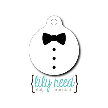 Pet Tag - Pet ID Tag - Dog Tag - Cat Tag - Lunch Box Tag - Bag Tag - Luggage Tag - Personalized Tuxedo Tag