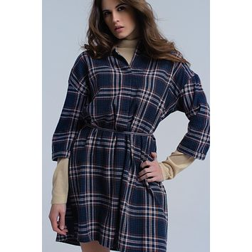 Navy checked midi dress