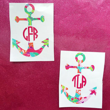 Lilly Inspired Anchor Monogram Decal
