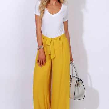 Her City Wide Leg Trouser Mustard