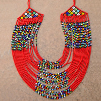 Red Multistrand Necklace,Beaded Red African Necklace,Tribal Red Statement Necklace,Traditional South African Beadwork