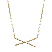 X Necklace 14k Yellow Gold