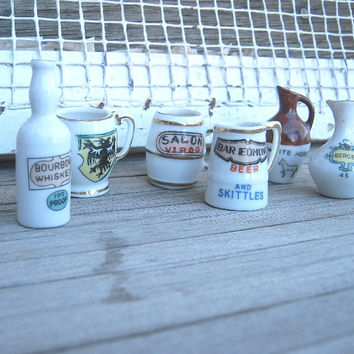 Rare Ceramic Miniature Bar Pitchers, Miniature Beer Steins, Mini Bourbon Whiskey Bottle - Vintage Made-in-Japan Mini Bar Vessels; Collectibl