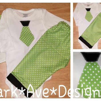 Polka Dot in green and white ... Little gentleman's 3 pc set .Baby boy appliqued tie top pants and burp cloth set 0-3 months