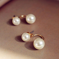 White Faux Pearl Swing Earrings
