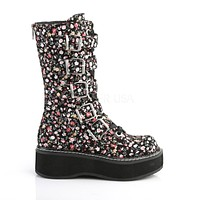 Emily 340 Goth Floral Mid Calf Ankle Boot Flat-form  6-12