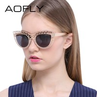 Sunglasses Fashion Lady Vintage Cat Eye Sunglasses Female out Mirror Sun glasses for Women