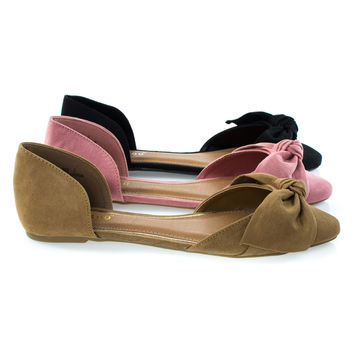 Sequel88S By Bamboo, Women's Slip On Pointed Toe D'Orsay Double Open Shank Flat w Bow