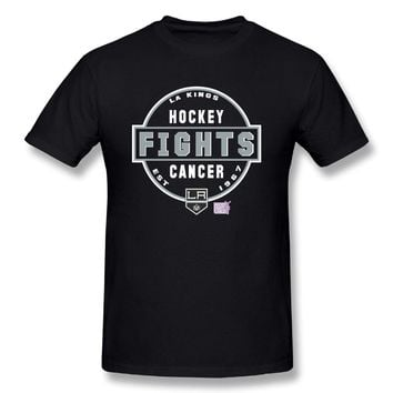 Los Angeles Kings Hockey Fights Cancer Conquer Mens Stylish Short Sleeve T Shirts