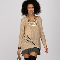Sale-natural Light As A Feather Tape Yarn Sweater