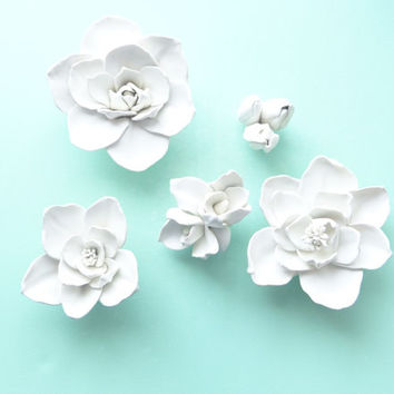 Set of five Magnolia Flowers- Magnolia Wall Sculpture