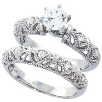 Sterling Silver Rhodium Plated, Round CZ Vintage 2 pcs Engagement Ring Bridal Sets ( Size 5 to 9), 7