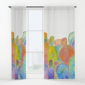 Rainbow Cactus Window Curtains by ViviGonzalezArt
