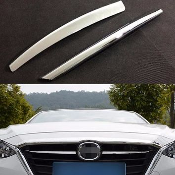 DEE Car Accessories For Mazda 3 M3 Axela 2014 2015 Front Grille Grill Cover Trims ABS Chrome 2pcs/set Auto Exterior Sticker