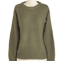 ModCloth Mid-length Long Sleeve Return to Fern Sweater