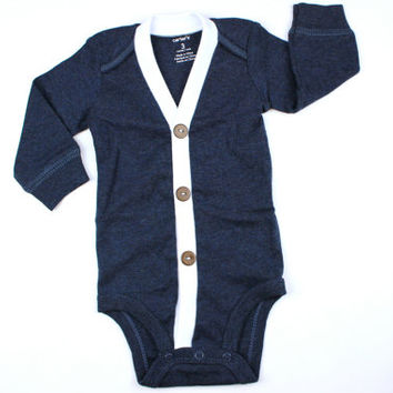 Baby Cardigan - Solid Navy Preppy Baby Boy Cardi - Perfect for a Winter Baby Shower Gift