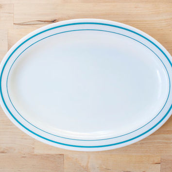 Corning Decor Pyrex Tableware Blue Stripes Serving Platter, Aqua Oval Dinner Plate