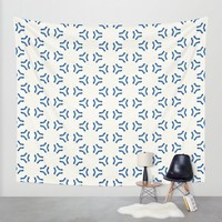 Acrylic Blue Pattern Circles Wall Tapestry by Doucette Designs